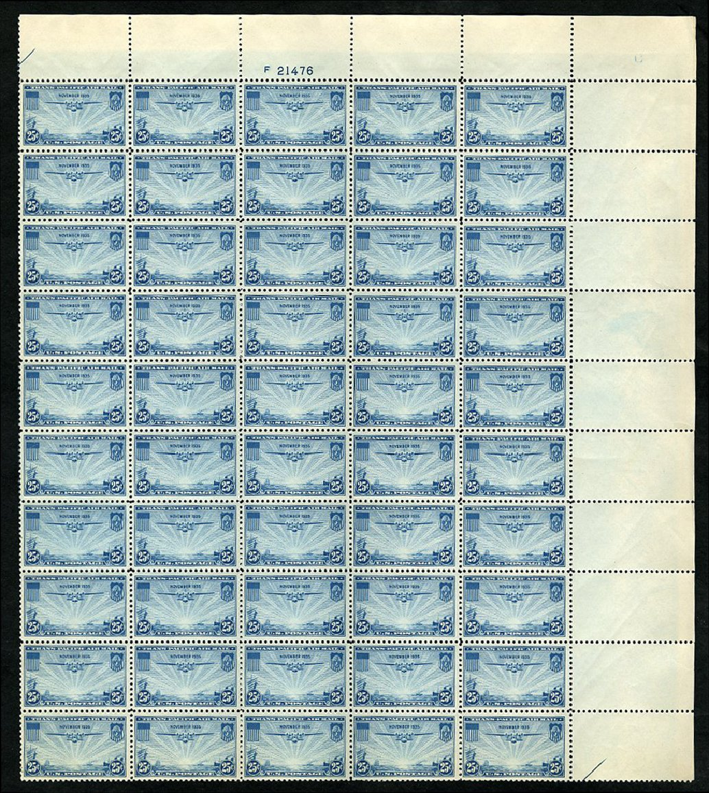 Values of US Stamps Scott Cat. #C20 - 25c 1935 Air China Clipper. Cherrystone Auctions, Jan 2014, Sale 201401, Lot 41