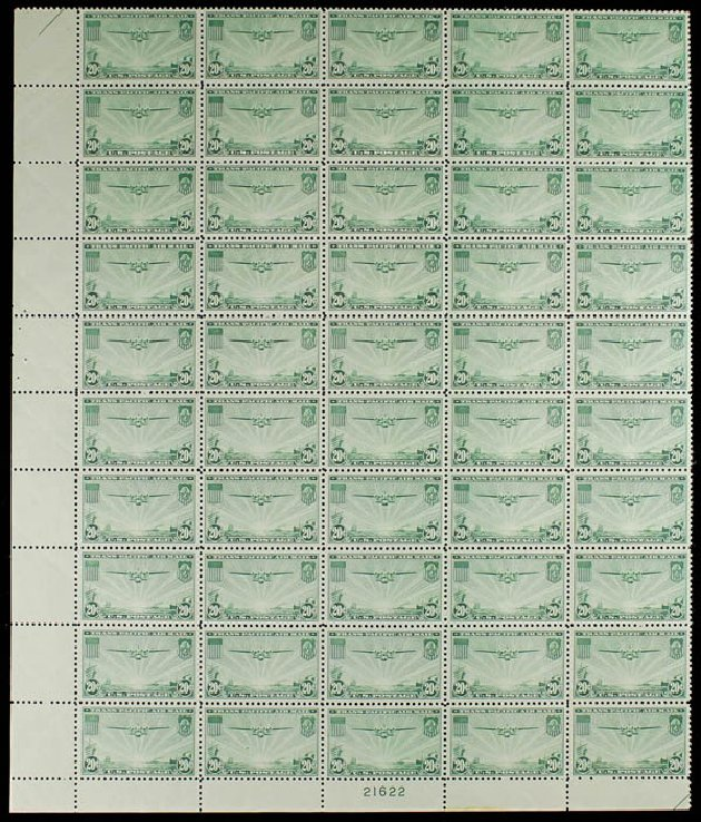 Values of US Stamps Scott C21: 20c 1937 Air China Clipper. Daniel Kelleher Auctions, Jun 2012, Sale 630, Lot 1978