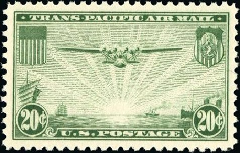 US Stamp Values Scott Catalog # C21 - 1937 20c Air China Clipper. Spink Shreves Galleries, Jan 2015, Sale 150, Lot 232