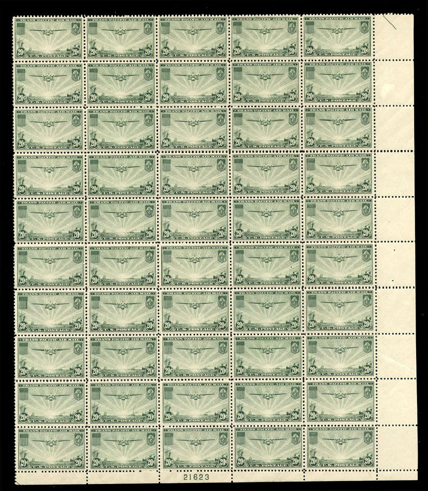 US Stamps Prices Scott Catalogue #C21: 1937 20c Air China Clipper. Cherrystone Auctions, Jul 2009, Sale 200907, Lot 173