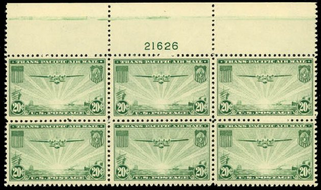 US Stamps Values Scott # C21 - 20c 1937 Air China Clipper. Daniel Kelleher Auctions, May 2014, Sale 653, Lot 2486