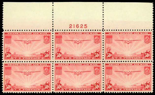 Cost of US Stamps Scott Catalog #C22: 1937 50c Air China Clipper. Daniel Kelleher Auctions, May 2014, Sale 653, Lot 2487