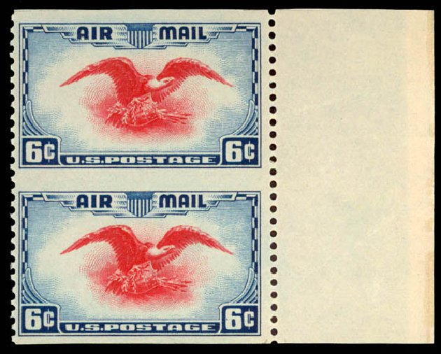 US Stamp Values Scott Cat. C23 - 1938 6c Air Eagle. Daniel Kelleher Auctions, Dec 2013, Sale 640, Lot 529