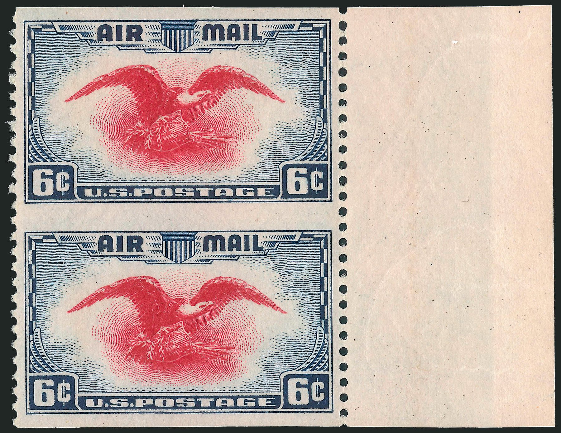 US Stamp Values Scott Cat. #C23 - 1938 6c Air Eagle. Robert Siegel Auction Galleries, Nov 2013, Sale 1061, Lot 4084