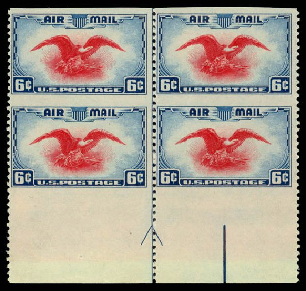 Costs of US Stamps Scott Catalog C23: 1938 6c Air Eagle. Daniel Kelleher Auctions, Aug 2015, Sale 672, Lot 2902