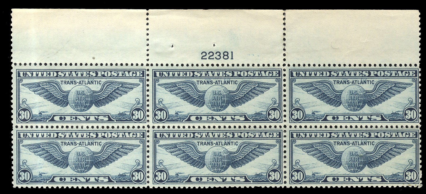 Value of US Stamp Scott Cat. C24 - 30c 1939 Air Winged Globe. Cherrystone Auctions, Mar 2015, Sale 201503, Lot 78