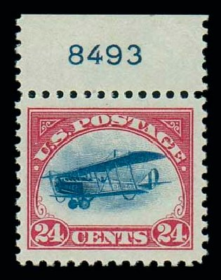 Values of US Stamp Scott Catalogue # C3: 1918 24c Air Curtiss Jenny. Matthew Bennett International, Oct 2007, Sale 320, Lot 611
