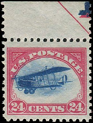 US Stamp Values Scott Catalogue C3: 24c 1918 Air Curtiss Jenny. Regency-Superior, Aug 2015, Sale 112, Lot 1011
