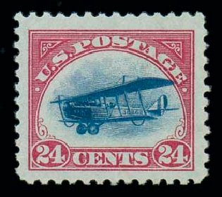 US Stamp Values Scott Catalogue # C3 - 24c 1918 Air Curtiss Jenny. Matthew Bennett International, Jun 2007, Sale 319, Lot 1585