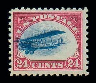 US Stamps Prices Scott Cat. #C3: 24c 1918 Air Curtiss Jenny. Matthew Bennett International, Jun 2007, Sale 319, Lot 1586