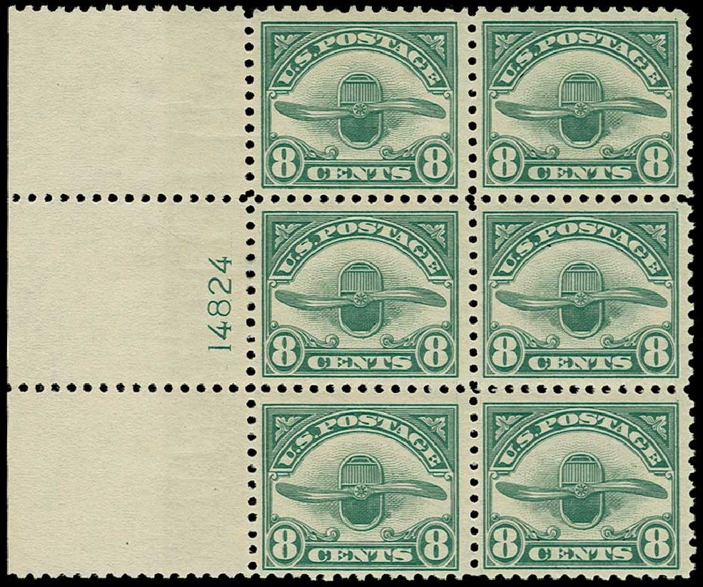 Values of US Stamps Scott Cat. C4: 8c 1923 Air Radiator and Propeller. H.R. Harmer, Jun 2015, Sale 3007, Lot 3439