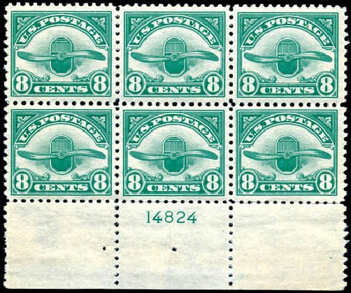 Values of US Stamp Scott Cat. C4: 8c 1923 Air Radiator and Propeller. Schuyler J. Rumsey Philatelic Auctions, Apr 2015, Sale 60, Lot 3001