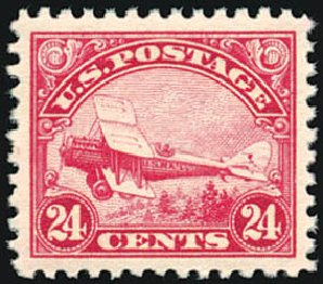 US Stamp Value Scott Cat. #C6 - 24c 1923 Air DeHavilland Biplane. Schuyler J. Rumsey Philatelic Auctions, Apr 2015, Sale 60, Lot 2469
