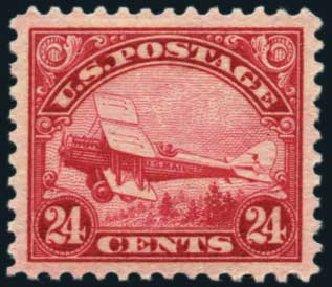US Stamp Prices Scott # C6: 24c 1923 Air DeHavilland Biplane. Harmer-Schau Auction Galleries, Nov 2014, Sale 103, Lot 160