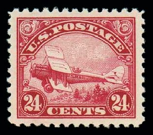 Values of US Stamp Scott Cat. # C6 - 1923 24c Air DeHavilland Biplane. Matthew Bennett International, Oct 2007, Sale 322, Lot 2271