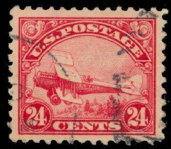 US Stamps Value Scott C6 - 24c 1923 Air DeHavilland Biplane. Daniel Kelleher Auctions, Jan 2015, Sale 663, Lot 2064