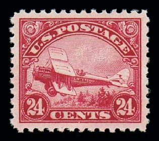 US Stamps Values Scott #C6: 1923 24c Air DeHavilland Biplane. Matthew Bennett International, Oct 2007, Sale 322, Lot 2272