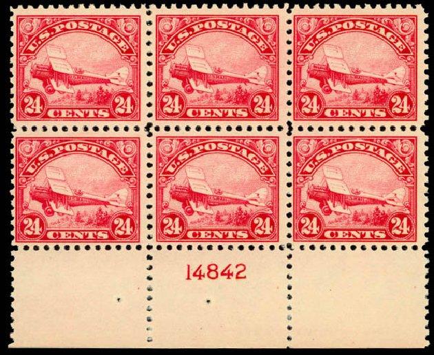 Cost of US Stamps Scott Catalogue #C6: 24c 1923 Air DeHavilland Biplane. Daniel Kelleher Auctions, Jan 2015, Sale 663, Lot 2062