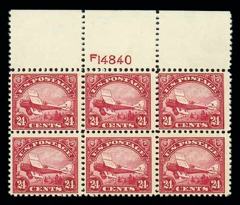 Values of US Stamp Scott Catalogue # C6: 1923 24c Air DeHavilland Biplane. Matthew Bennett International, Jun 2007, Sale 319, Lot 1593