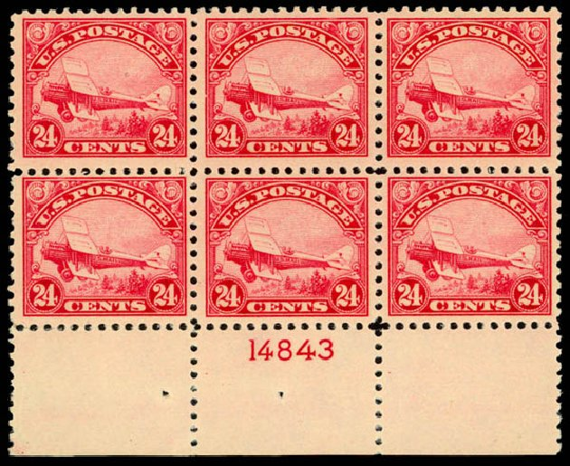 US Stamp Prices Scott Catalog C6 - 24c 1923 Air DeHavilland Biplane. Daniel Kelleher Auctions, Jan 2015, Sale 663, Lot 2063