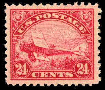 Cost of US Stamp Scott Cat. # C6 - 1923 24c Air DeHavilland Biplane. Daniel Kelleher Auctions, Aug 2015, Sale 672, Lot 2876
