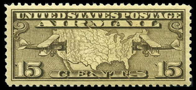 Values of US Stamp Scott Catalog # C8 - 15c 1926 Air Map and Planes. Matthew Bennett International, Feb 2012, Sale 340, Lot 557