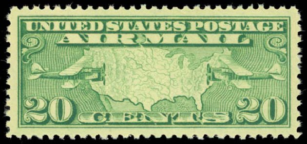 US Stamps Value Scott Catalog # C9 - 20c 1927 Air Map and Planes. Daniel Kelleher Auctions, May 2014, Sale 653, Lot 2317
