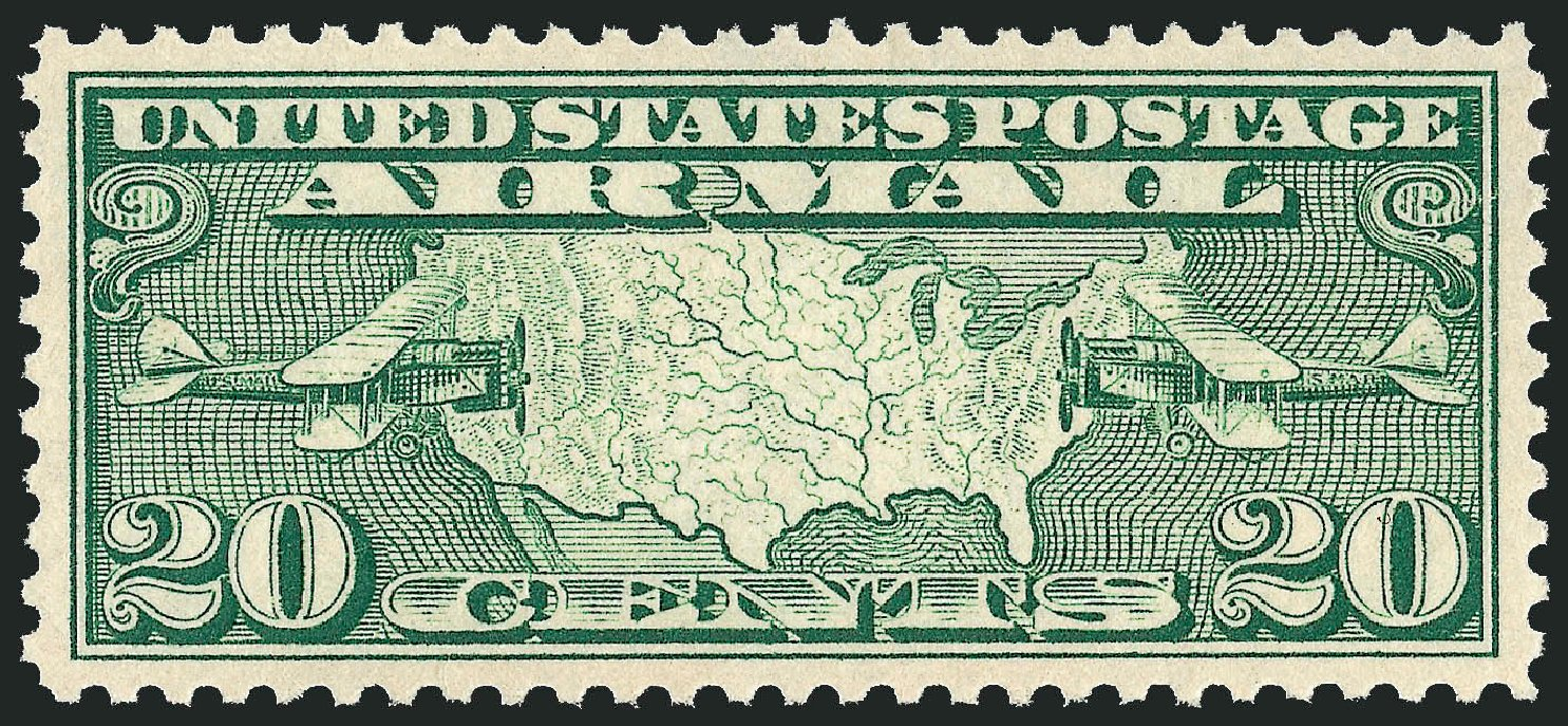 Prices of US Stamp Scott Catalog C9: 1927 20c Air Map and Planes. Robert Siegel Auction Galleries, Sep 2008, Sale 962, Lot 2941