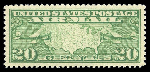 US Stamp Prices Scott Catalog #C9: 1927 20c Air Map and Planes. Matthew Bennett International, Sep 2010, Sale 333, Lot 3912