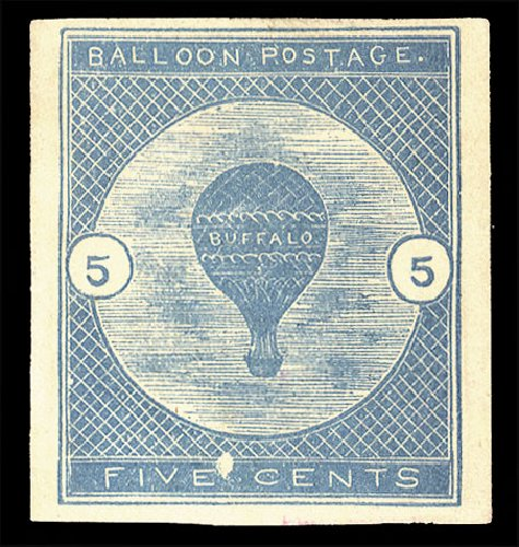 Value of US Stamp Scott Cat. CL1: 1877 5c Air Buffalo Baloon. Cherrystone Auctions, Jul 2015, Sale 201507, Lot 97