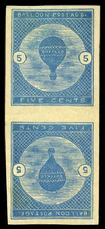 Values of US Stamps Scott Catalogue #CL1 - 5c 1877 Air Buffalo Baloon. Matthew Bennett International, Feb 2012, Sale 340, Lot 564