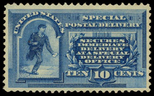 Cost of US Stamps Scott Catalogue # E1 - 10c 1885 Special Delivery. Daniel Kelleher Auctions, Aug 2015, Sale 672, Lot 2906