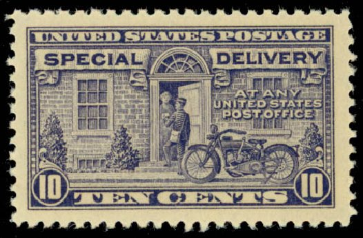 Costs of US Stamps Scott Cat. #E12: 1922 10c Special Delivery. Daniel Kelleher Auctions, Oct 2014, Sale 660, Lot 2528
