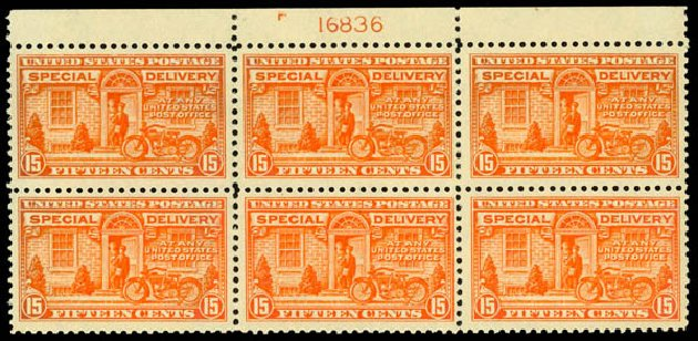 US Stamps Values Scott Cat. #E13: 15c 1925 Special Delivery. Daniel Kelleher Auctions, Sep 2014, Sale 655, Lot 850