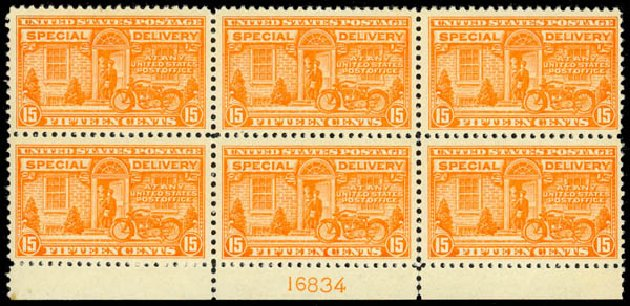 US Stamp Value Scott Catalog E13: 1925 15c Special Delivery. Daniel Kelleher Auctions, Jan 2015, Sale 663, Lot 2100
