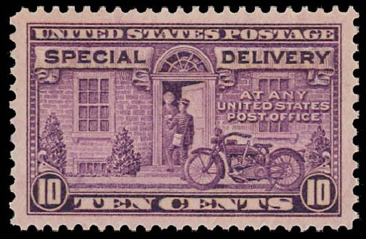US Stamps Value Scott Catalogue E15: 10c 1927 Special Delivery. Daniel Kelleher Auctions, Jan 2012, Sale 628, Lot 708