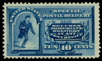 Cost of US Stamp Scott Catalog E2 - 1888 10c Special Delivery. Daniel Kelleher Auctions, Aug 2015, Sale 672, Lot 2907