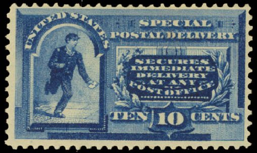 US Stamps Values Scott Catalogue # E2: 1888 10c Special Delivery. Daniel Kelleher Auctions, Aug 2015, Sale 672, Lot 2908