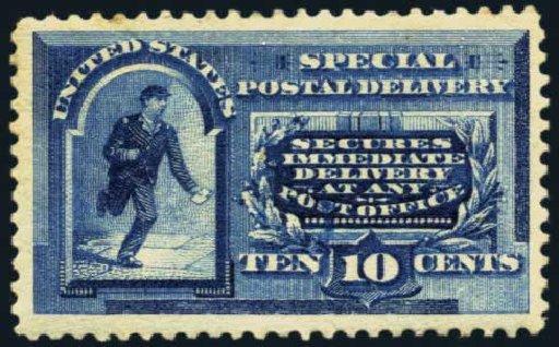 Value of US Stamp Scott Catalogue #E2 - 1888 10c Special Delivery. Harmer-Schau Auction Galleries, Jan 2014, Sale 100, Lot 670