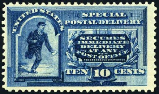 Cost of US Stamps Scott #E2: 1888 10c Special Delivery. Harmer-Schau Auction Galleries, May 2014, Sale 101, Lot 201
