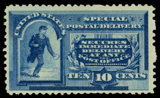 US Stamps Values Scott E2: 10c 1888 Special Delivery. Daniel Kelleher Auctions, Jan 2015, Sale 663, Lot 2094