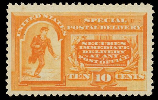 US Stamp Values Scott Cat. E3: 10c 1893 Special Delivery. Daniel Kelleher Auctions, Aug 2015, Sale 672, Lot 2909