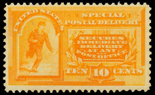 US Stamps Value Scott Cat. # E3: 1893 10c Special Delivery. Daniel Kelleher Auctions, May 2014, Sale 652, Lot 850