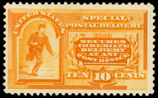 US Stamp Prices Scott # E3 - 10c 1893 Special Delivery. Daniel Kelleher Auctions, Aug 2015, Sale 672, Lot 2910
