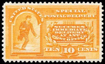 Costs of US Stamp Scott Catalog #E3: 10c 1893 Special Delivery. Schuyler J. Rumsey Philatelic Auctions, Apr 2015, Sale 60, Lot 2485