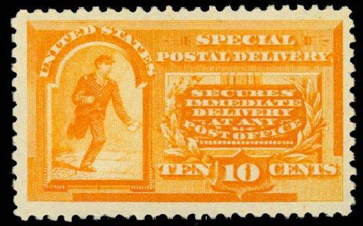 US Stamps Value Scott Catalog #E3 - 10c 1893 Special Delivery. Daniel Kelleher Auctions, Sep 2014, Sale 655, Lot 842