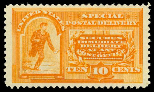 Price of US Stamp Scott E3 - 10c 1893 Special Delivery. Daniel Kelleher Auctions, Dec 2014, Sale 661, Lot 442