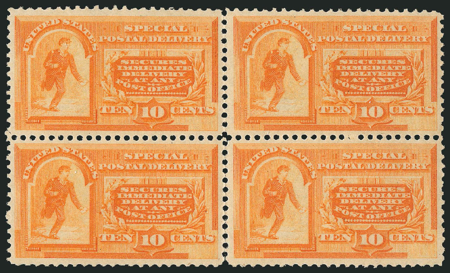 Values of US Stamps Scott Catalog #E3: 10c 1893 Special Delivery. Robert Siegel Auction Galleries, Apr 2014, Sale 1068, Lot 402