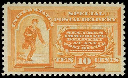 Value of US Stamp Scott Catalog #E3: 10c 1893 Special Delivery. H.R. Harmer, Jun 2015, Sale 3007, Lot 3463