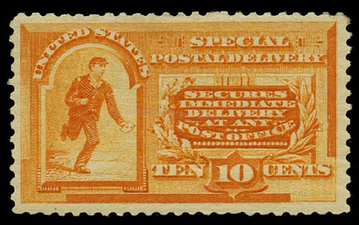 Cost of US Stamps Scott #E3: 1893 10c Special Delivery. Daniel Kelleher Auctions, May 2015, Sale 669, Lot 3276